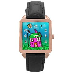 Cartoon Grunge Cat Wallpaper Background Rose Gold Leather Watch