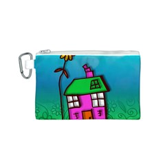 Cartoon Grunge Cat Wallpaper Background Canvas Cosmetic Bag (s)