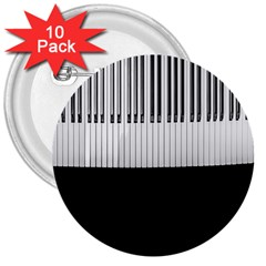 Piano Keys On The Black Background 3  Buttons (10 pack)