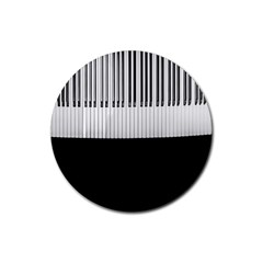 Piano Keys On The Black Background Rubber Coaster (Round)