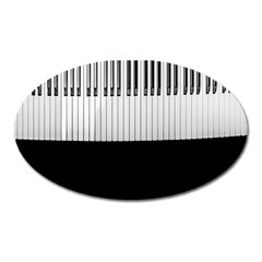 Piano Keys On The Black Background Oval Magnet