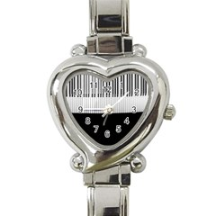 Piano Keys On The Black Background Heart Italian Charm Watch