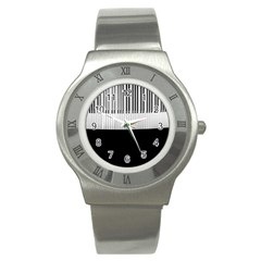 Piano Keys On The Black Background Stainless Steel Watch