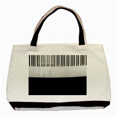 Piano Keys On The Black Background Basic Tote Bag