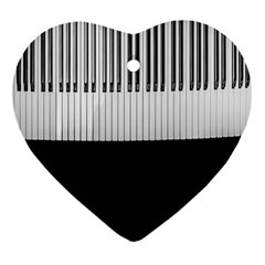 Piano Keys On The Black Background Heart Ornament (Two Sides)