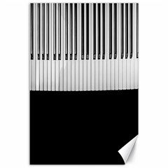 Piano Keys On The Black Background Canvas 24  X 36