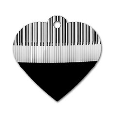 Piano Keys On The Black Background Dog Tag Heart (One Side)