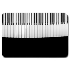 Piano Keys On The Black Background Large Doormat