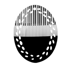 Piano Keys On The Black Background Oval Filigree Ornament (two Sides)