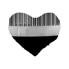 Piano Keys On The Black Background Standard 16  Premium Heart Shape Cushions