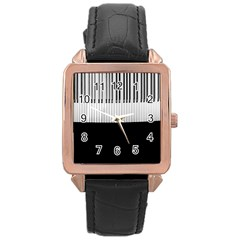 Piano Keys On The Black Background Rose Gold Leather Watch