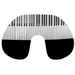 Piano Keys On The Black Background Travel Neck Pillows