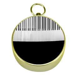 Piano Keys On The Black Background Gold Compasses