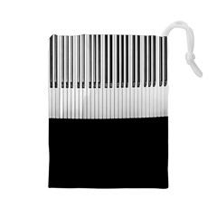Piano Keys On The Black Background Drawstring Pouches (Large)