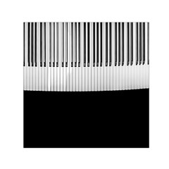 Piano Keys On The Black Background Small Satin Scarf (Square)