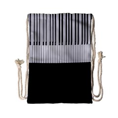 Piano Keys On The Black Background Drawstring Bag (Small)