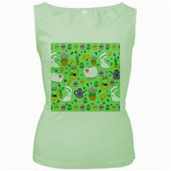 Cute Easter pattern Women s Green Tank Top