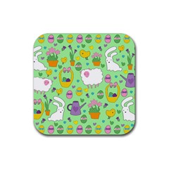 Cute Easter pattern Rubber Coaster (Square)