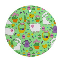 Cute Easter pattern Round Ornament (Two Sides)