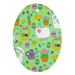 Cute Easter pattern Oval Ornament (Two Sides)