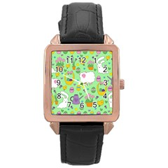 Cute Easter pattern Rose Gold Leather Watch