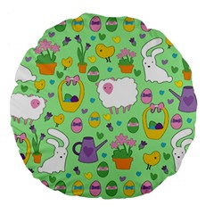 Cute Easter pattern Large 18  Premium Flano Round Cushions