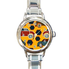 Husbands Cars Autos Pattern On A Yellow Background Round Italian Charm Watch