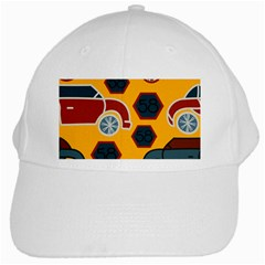 Husbands Cars Autos Pattern On A Yellow Background White Cap