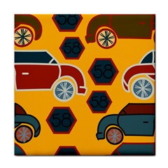 Husbands Cars Autos Pattern On A Yellow Background Tile Coasters
