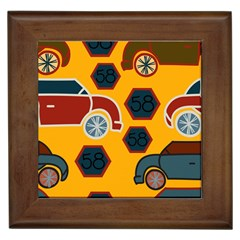 Husbands Cars Autos Pattern On A Yellow Background Framed Tiles