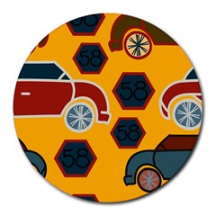 Husbands Cars Autos Pattern On A Yellow Background Round Mousepads
