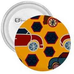 Husbands Cars Autos Pattern On A Yellow Background 3  Buttons