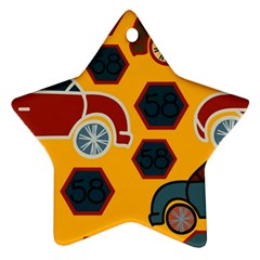 Husbands Cars Autos Pattern On A Yellow Background Ornament (star)