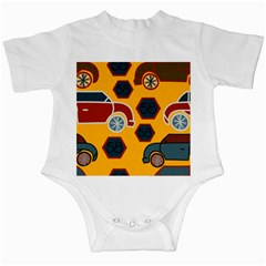 Husbands Cars Autos Pattern On A Yellow Background Infant Creepers