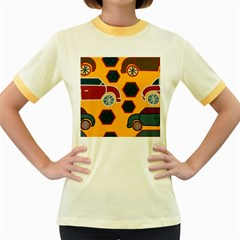 Husbands Cars Autos Pattern On A Yellow Background Women s Fitted Ringer T-Shirts
