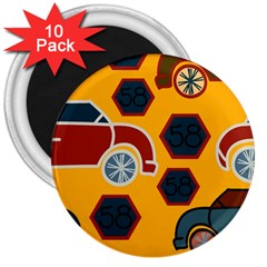 Husbands Cars Autos Pattern On A Yellow Background 3  Magnets (10 pack)