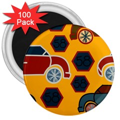 Husbands Cars Autos Pattern On A Yellow Background 3  Magnets (100 pack)