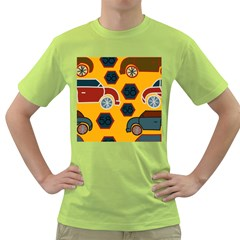 Husbands Cars Autos Pattern On A Yellow Background Green T Shirt