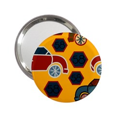 Husbands Cars Autos Pattern On A Yellow Background 2.25  Handbag Mirrors