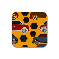 Husbands Cars Autos Pattern On A Yellow Background Rubber Coaster (Square)