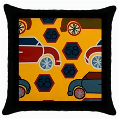 Husbands Cars Autos Pattern On A Yellow Background Throw Pillow Case (Black)