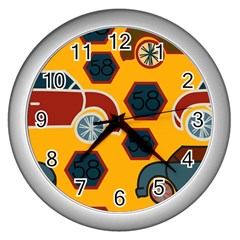 Husbands Cars Autos Pattern On A Yellow Background Wall Clocks (silver)