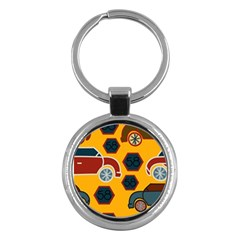 Husbands Cars Autos Pattern On A Yellow Background Key Chains (Round)