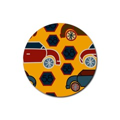Husbands Cars Autos Pattern On A Yellow Background Rubber Round Coaster (4 Pack)