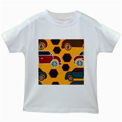 Husbands Cars Autos Pattern On A Yellow Background Kids White T Shirts