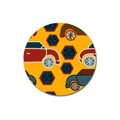Husbands Cars Autos Pattern On A Yellow Background Magnet 3  (Round)