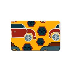 Husbands Cars Autos Pattern On A Yellow Background Magnet (name Card)