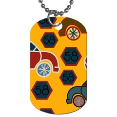 Husbands Cars Autos Pattern On A Yellow Background Dog Tag (One Side)
