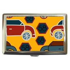 Husbands Cars Autos Pattern On A Yellow Background Cigarette Money Cases