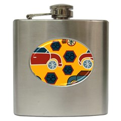 Husbands Cars Autos Pattern On A Yellow Background Hip Flask (6 Oz)